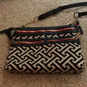 Spartina Beige, Black, and Red Crossbody